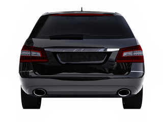Large black family business car with a sporty and at the same time comfortable handling. 3d rendering.