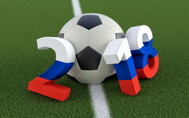 2018 in russian flag colors on a soccer field. A soccer ball representing the 0 in 2018. 3D Rendering