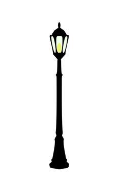 Vector illustration of cartoon black streetlight
