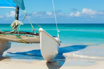 Catamaran on the tropical beach, Cuba, Varadero