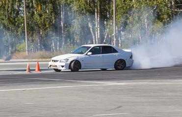 car drifting on speed track