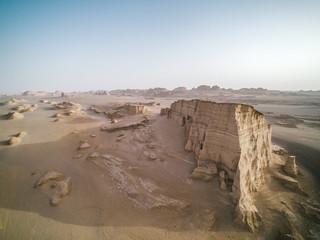 aerial image of rugged desert iranian landscape, kalut