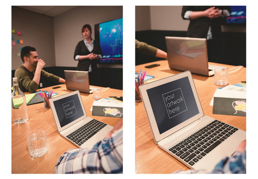 Laptop User at Business Meeting Mockup 1