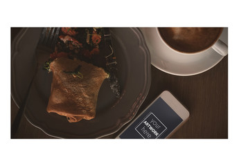 Smartphone with Plate of Food and Coffee Mockup 1