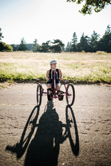 Portrait of Disabled Active Woman on Her Bicycle
