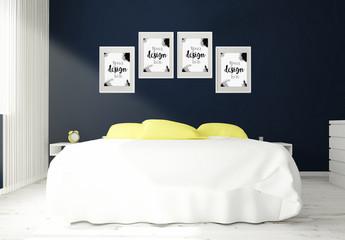 4 Framed Mockups in 3D Bedroom Rendering