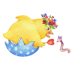 The chicken sits in a shell and communicates with a earthworm. Cute cartoon chicken for easter design. Hand drawn watercolor painting illustration isolated on white background.