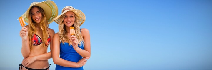 Composite image of two women eating ice cream