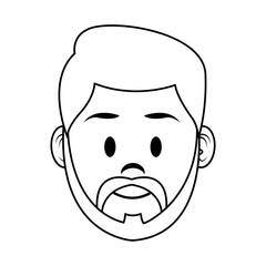 Young man face cartoon vector illustration graphic design