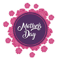 Mothers day design with beautiful flowers around decorative circular frame over white background, colorful design. vector illustration