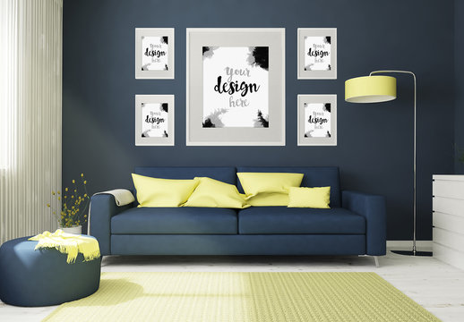5 Framed Mockups in 3D Living Room Rendering