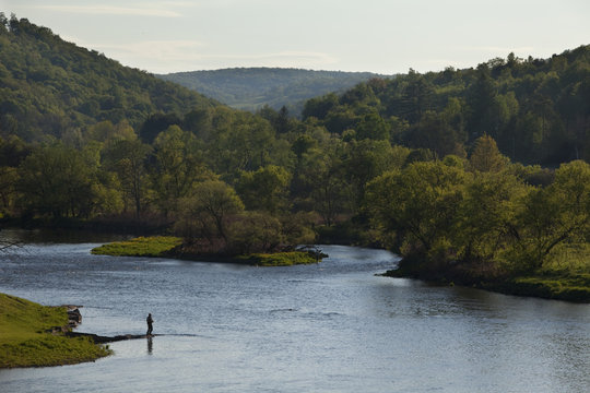 Fly fisherman on the Delaware River