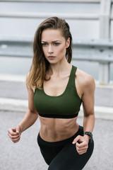 Woman exercising outside.