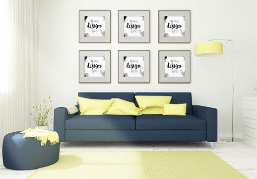 6 Framed Mockups in 3D Living Room Rendering
