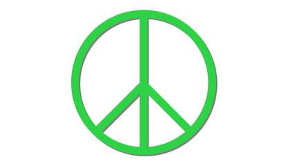 peace symbol icon on white green