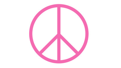 peace symbol icon on white pink