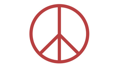 peace symbol icon on white red
