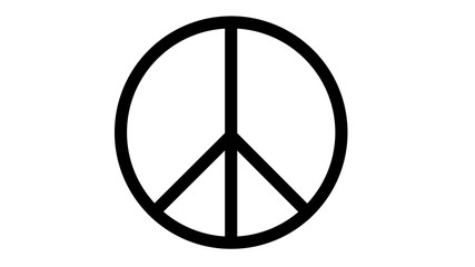 peace symbol icon on white black