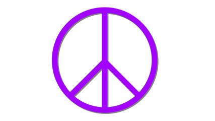 peace symbol icon on white purple