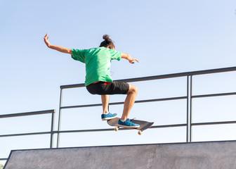 Skateboarder practising his skills