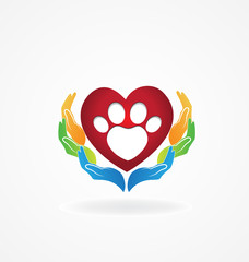 Hands caring a paw print pet in a love heart sign logo vector