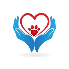 Hands caring a paw print pet love heart sign logo vector