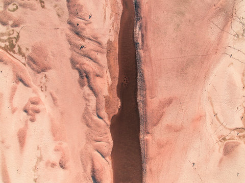 Aerial view of a dry lake