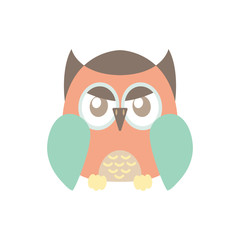 Colorful angry owl illustration