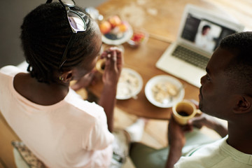 African American couple at breakfast