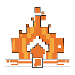 Pixelated fire flamme vector illustration graphic design