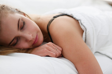 Young beautiful woman sleep well in the morning