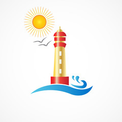 Logo lighthouse beach icon