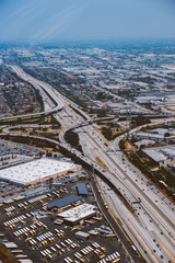 Aerial view of freeway and cars