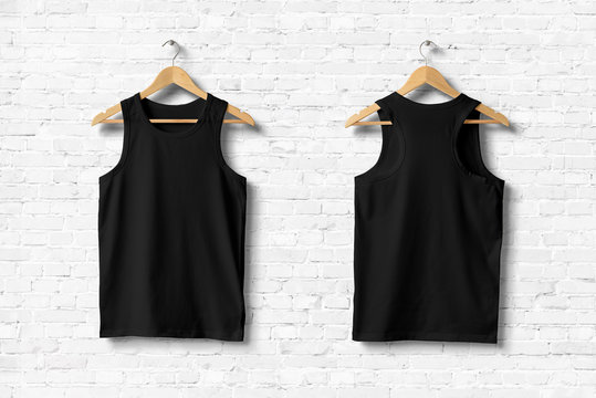 Black Tank Top Shirt Mock-up hanging on white wall, front and rear side view. 3D rendering.