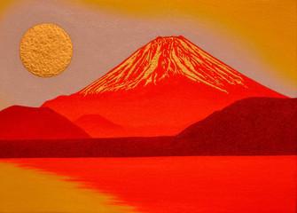 本栖湖からの金の太陽の日の出赤富士