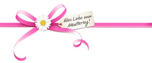 Muttertag - Rosa Schleife mit Margeriten Blüte, Etikett und Handschrift