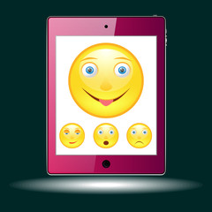 tablet with picture of the emoticons