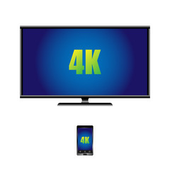 4k widescreen TV with LCD display and remote control