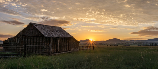 Barn at Sunrise Wall mural
