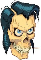 Vector Cartoon Hipster or Greaser Human Skull Illustration