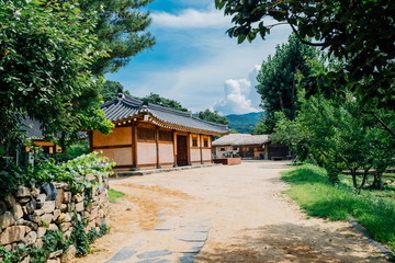 Korean old traditional house at summer day