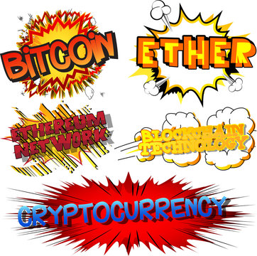 Crypto-currencies related words. Vector cartoon illustration set with comic book style.