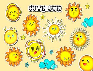 Collection of cute sun,cartoon style,summer time,vector.