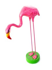 pink ceramic flamingo figures with white background
