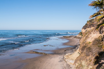 View of Swami's Beach in Encinitas, California at low tide, an internationally known surfing location in San Diego County.