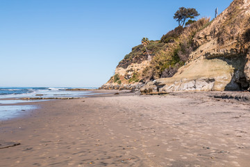 Swami's Beach in Encinitas, California at low tide,  a popular surfing point break in San Diego County.