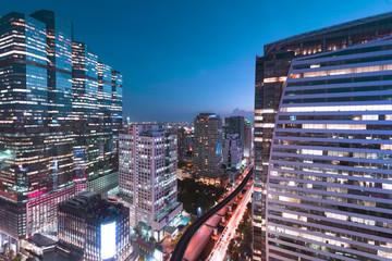 Modern city business district in Bangkok.