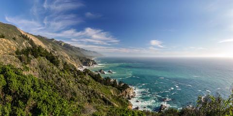 Sweeping panoramic vista of Big Sur in California