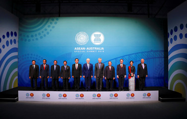 ASEAN leaders stand together for the Family Photo during the one-off ASEAN summit in Sydney