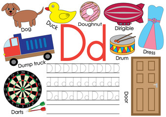 Letter D. Learning English alphabet and writing practice for children.